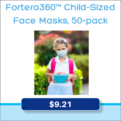 Child-Sized Face Masks, 50-pack for $9.21