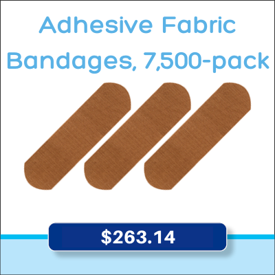 Adhesive fabric bandages, 7,500-pack for $263.14