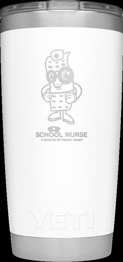 White 20 oz. YETI laser-engraved with Mendy and School Nurse Logo